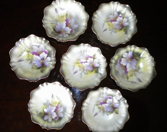 Set of 7 Floral Berry/Fruit Bowls by RS Germany, Ice Cream Bowls, Gelato Bowls