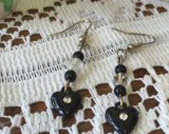 THE PANTHERS HEART- black heart earrings.