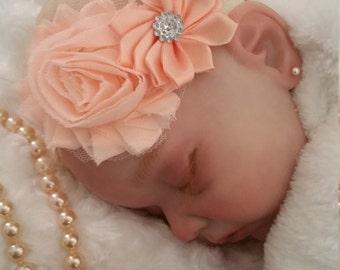Baby Headband -Newborn Shabby chic Headband .Newborn Girl Headband.