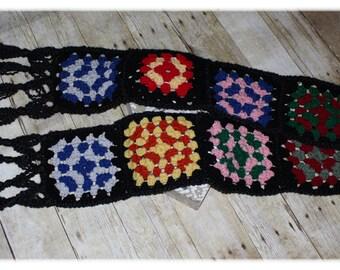 Granny Square Scarf / Retro / Vintage / Boho / Crochet (A26)