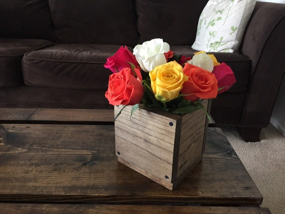 Wood flower box centerpiece by blackironworks on etsy