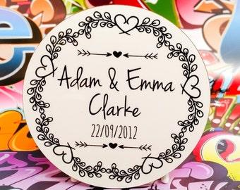 Couples in love round coaster vintage design