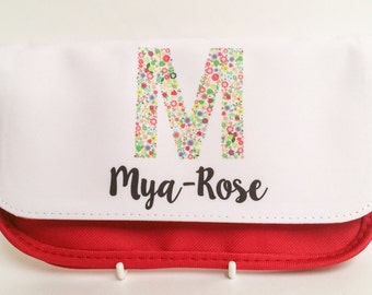 Personalised Flowery Letter pencil case - Could also be used as a makeup bag