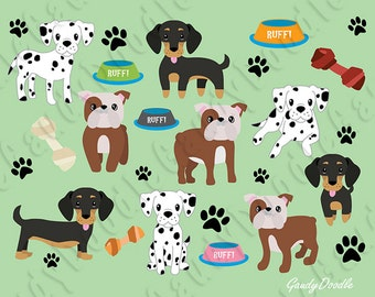 Dogs Clipart - Dalmatian, Dachshund, English Bulldog