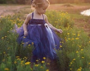 Navy blue flower girl dress, Bridesmaid Dresses, Flower girl tutu Dress, Tulle Flower girl dress, Blue Bridesmaid Dress, Occasion dresses