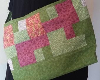 Handmade Green and Purple Patchwork Purse - 004