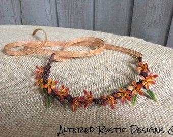 Fall bridal crown/ bridal crown/ flower girl crown/ wedding crown/ wedding hair accessory/ hair accessory/ wedding accessory/ fall wedding