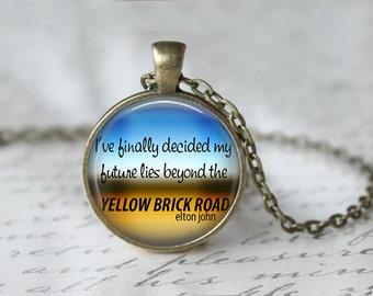 Elton John Yellow Brick Road Round Pendant Necklace or Keychain