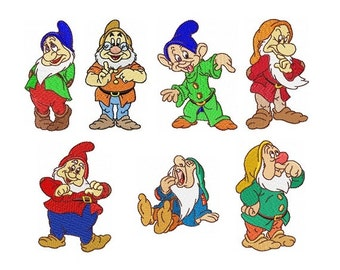 Seven Dwarfs - Set of 7 Embroidery Designs in 2 Sizes - Instant Download