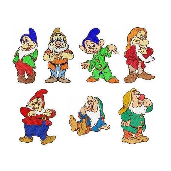 seven dwarfs set of 7 embroidery designs in 2 sizes. Black Bedroom Furniture Sets. Home Design Ideas