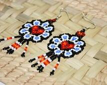 Huichol Earrings, Heart Earrings, Seed Bead Earrings, Native American Beadwork, Dangle Earrings, Earrings with Fringe, Huichol Jewelry