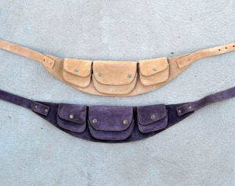 Tan suede Burning Man utility belt