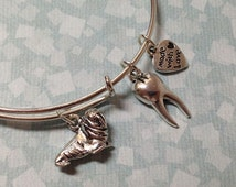Walrus Tooth Alex and Ani Inspired Initial Charm Expandable Bangle Bracelet Adjustable Stackable Personalized Bangle