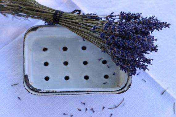 French Vintage White Enamel Soap Dish. French Shabby Chic