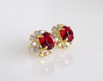 Crystal Red Earrings, Crystal Earrings, Red Earrings, Swarovski Crystal Red Earrings, Swarovski Red Earrings,Swarovski Earrings,Red Crystal