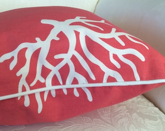 Sea Coral Pillow Cover, Coral Piped Pillow, Coral White Pillow, Coral decorative Pillow, Toss Pillow, Decorative Cushion