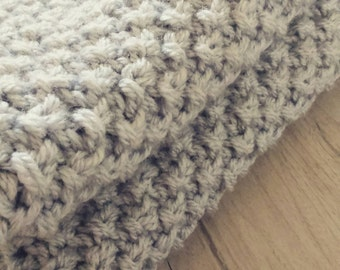 Handmade soft chunky knitted baby blanket