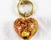 Original Michael Anthony Glass Heart 14k Gold 24k Gold Flake Charm Clasp Pendant