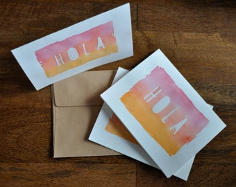 "Set of Eight ""Hola"" Watercolor Cards"