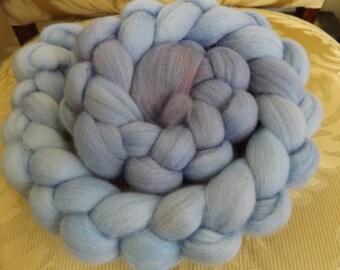 Hand dyed 22 micron merino roving (blues)