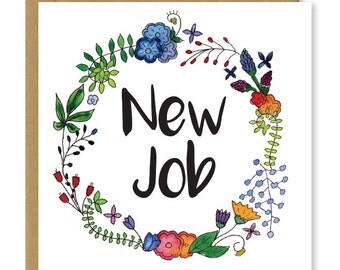 New job card | Congratulations on your new job | Good luck in your new job greetings card