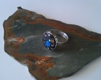 Space Saturn Sterling Silver Mens Ring Moon Star Ring Moon Star Inlay with Turquoise, Opal and Mother of Pearl