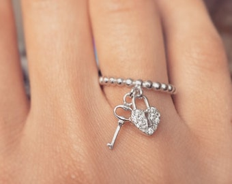 "925 Sterling silver ""Key to my heart"" ring"