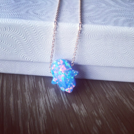 Lab Opal Hamsa necklace with gold filled or gold plated chain - Gold Hamsa necklace- Fatima's hand necklace