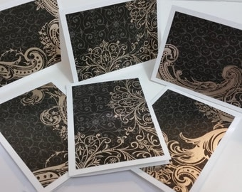 Blank White Cards, Greeting Card Set, Golden Edge, Set of 6, Stationary, Black, Gold Foil, White Note Cards, Handmade Greeting Cards