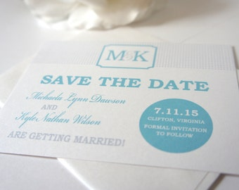 Monogram Save the Date Card, Monogram Save the Dates, Blue Save the Dates, Blue and Gray, Modern Save the Dates - DEPOSIT