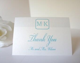 Monogram Thank You Cards - Personalized Thank You Cards, Blue and Gray, Wedding Thank You Cards, Modern, Customized - DEPOSIT