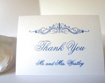 Royal Blue Wedding Thank You Cards - Elegant Thank You Cards, Personalized Thank You Cards, Simple, Classy, Formal - DEPOSIT