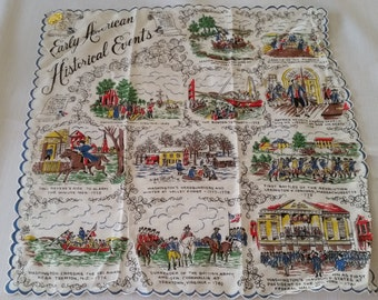 Vintage Early American Historical Events Hankie Handkerchief New Old Stock with Original Tag