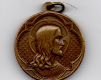 PENIN PONCET of Lyon in France collectors larger bronze double sided medal Jesus & Mary