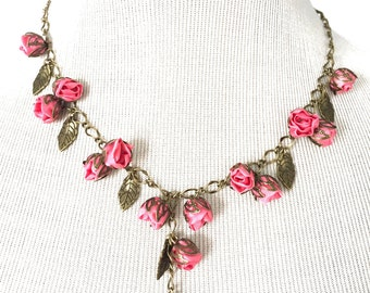 Sale!!! handmade Fabric Rosebud Necklace Pink