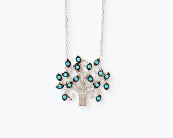tree of life, tree necklace, tree of life necklace, tree of life jewelry, silver tree necklace, family tree, cz tree of life, turquoise tree