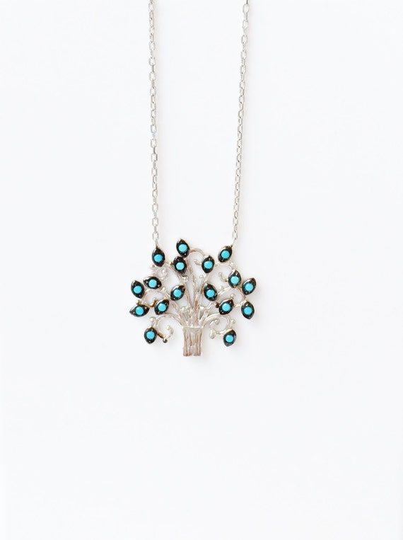 tree of life necklace solid sterling silver turquoise cubic zirconia stones