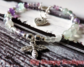 Bumble Bee with Purple Green Clear Flourite Silver Plated Nickel and Lead Free Gemstone Bracelet