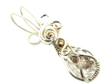 Herkimer Diamond Wire Wrapped Crystal Gem Pendant 26