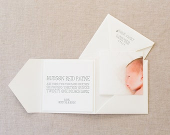 Letterpress Baby Announcement in Pocket Folder Envelope with Photograph