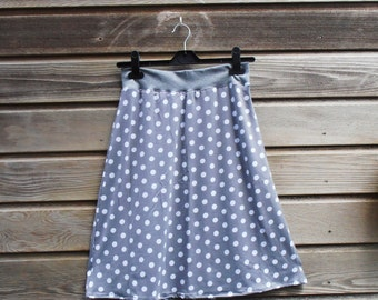 stretch skirt  A-line grey with white dots L