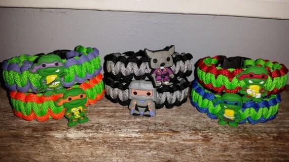 1 - TMNT Teenage Mutant Ninja Turtles 550 paracord survival bracelet shoelace charm