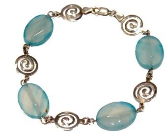 Murano Blue Bracelet .925 Sterling Bracelet 8 inch