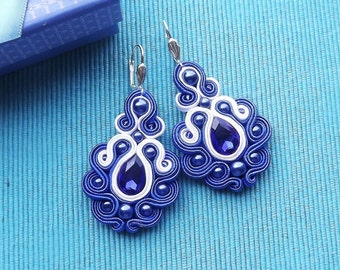 Sapphire- Soutache earrings