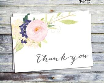 Printable Thank You Card, Wedding Thank You Card, Watercolor Thank You Card, Thank You Note, Printable Note Card