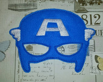 Captain America super hero inspired mask ITH In the Hoop Embroidery Design Costume, Cosplay, Fancy dress, Masquerade, Photo booth, Prop.