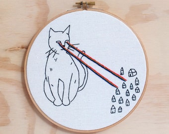 Cat Attacks Hand Embroidered  Hoop Art, Wall Art
