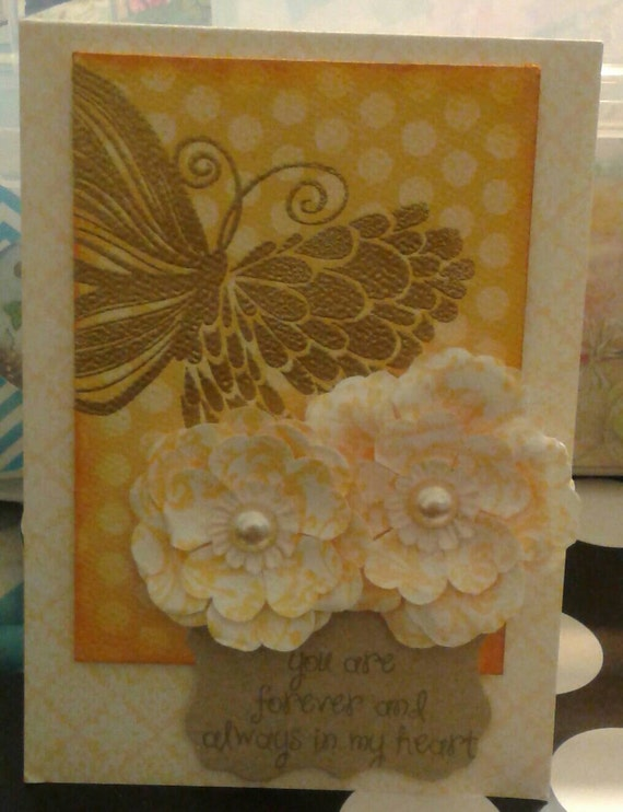 Yellow Embossed Butterfly Love Card