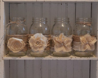 Burlap Wedding Centerpieces, Wedding Decorations, Mason Jar Wedding, Burlap and Lace Wedding Decorations