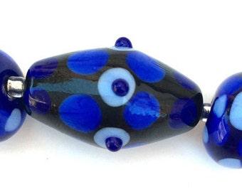 Lampwork Glass Bead Set - Blue Glass Beads - Lampwork Glass Beads - Artisan Glass Beads